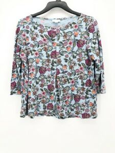 J-Jill-Womens-Blouse-Blue-Pink-Floral-3-4-Sleeve-Scoop-Neck-Top-Petites-PXS