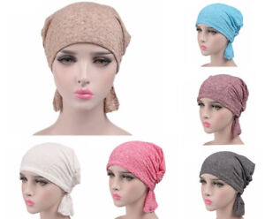 ca3687c2443f2 Cotton Stretch Chemo Cap Hair Loss Head Scarf Wrap Muslim Turban Hat ...
