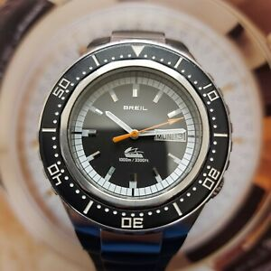 OROLOGIO SUB BREIL MANTA 1000M/3300FT DAY-DATE AUTOMATIC DIVER WATCH 8A079 BLACK