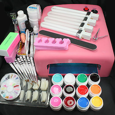 Pro 36W UV Lamp Pink w/ 12 Color UV Gel Nail Art Tips Brush Tool Kits Set