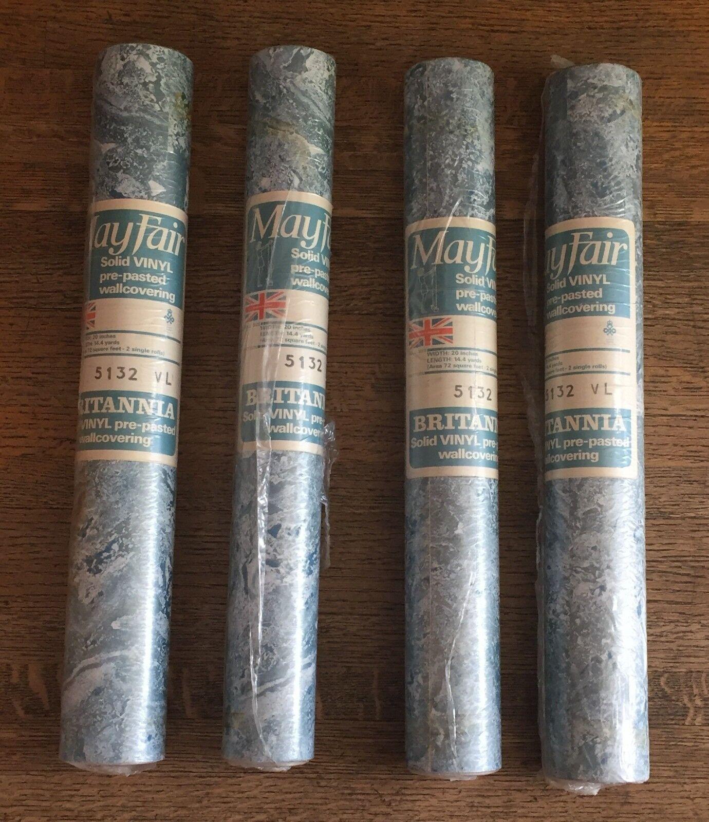 4 Matched Rolls MAYFAIR  Blau Wallpaper VINYL RETRO VINTAGE 1970s, Never Opened