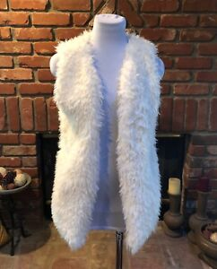 BoHo-Hippy-CHIC-Cream-Off-White-Soft-Plush-Versatile-Faux-Fur-Jacket-Vest-S-mM