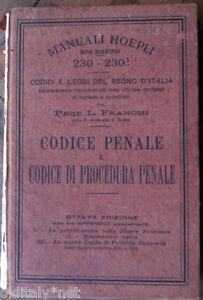 1927-Manuali-Hoepli-Serie-Scientifica-CODICE-PENALE-e-CODICE-DI-PROCEDURA-PENALE