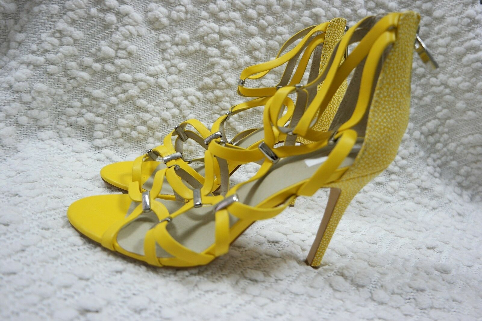 NUDE giallo 100% leather strappy stiletto high high high heels Dimensione 39EUR 8AU NWOT bb0d51