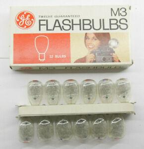 (12) GE M3 USA Photoflash Clear Unfired Flash Bulbs With Box  Vintage L22K