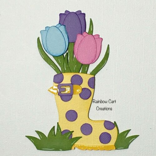 Rain Boot Tulips Pre-Made Die Cut Embellishment Scrapbooking Layered Spring