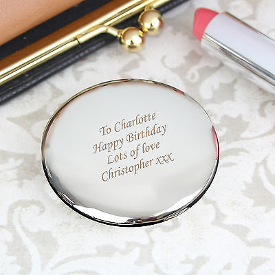 Personalised Silver Plated Compact Mirror - Engraved Gifts - Weddings Birthdays