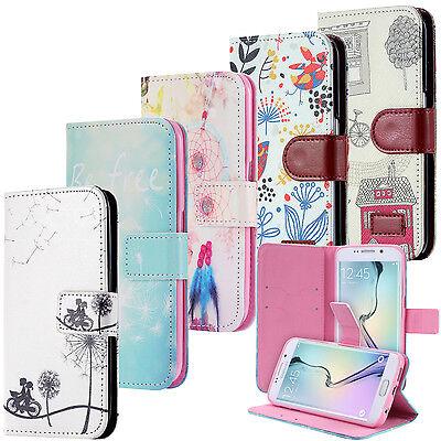 Handy Tasche Flip Cover Case Schutz Hülle mit Motiv Wallet Schale Samsung Galaxy