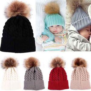 546683f7d0a Newborn Girls Boys Kids Beanie Baby Knitted Hat Pom Pom Ball Wool ...