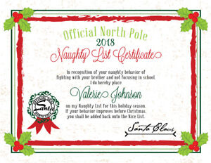 2018 Christmas Letter From Santa Naughty List Certificate   PDF