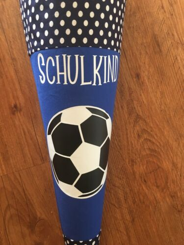 selbstgenäht 70cm Schultüte Bezug Fußball aus Stoff mit Wunschnamen