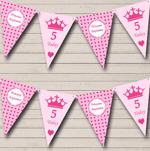 Pink-Hearts-Princess-Girls-Personalised-Children-039-s-Birthday-Party-Bunting-Banner