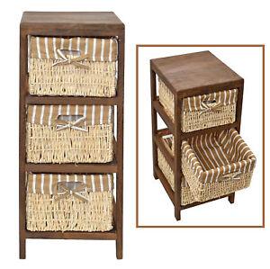 Dettagli su Cassettiera country cesti in vimini mobiletto legno bagno  corridoio cucina