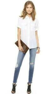 Womens-Slim-Signature-Equipment-100-Silk-Short-Sleeve-Tops-Shirt-White-Black