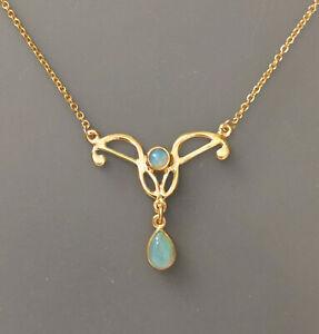 9906045 925er Silber vergoldet Jugendstil-Collier mit Opal