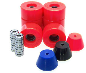 Rollschuh-Rollen-Stopper-ABEC-Lager-Set-Disco-Roller-Skate-Impulse-RED