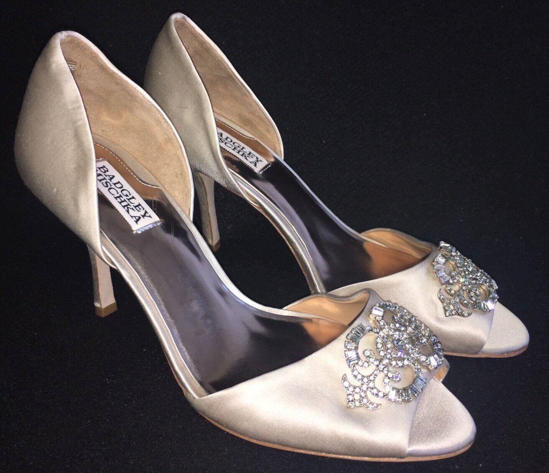 Badgley Mischka Salsa Vanilla Satin D'orsay Bridal Evening High Heel Pumps 9.5 M