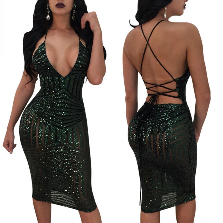 Abito Aperto Scollo Aderente Pailette Cerimonia Ballo Festa Party Sequin Dress S