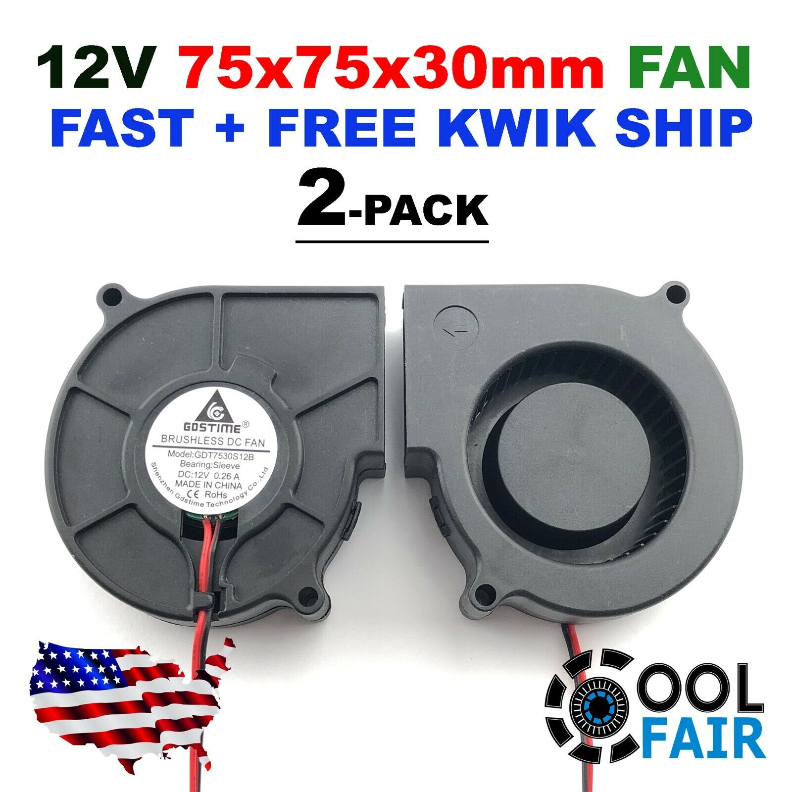 GDSTIME 75mm Fan 75mm x 30mm Blower Fan 24V Dc Brushless Cooling Fan 7530S