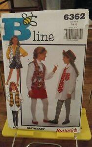 Vtg-Butterick-B-Line-6362-girls-retro-shirt-vest-skirt-leggings-tie-sz-7-10-NEW