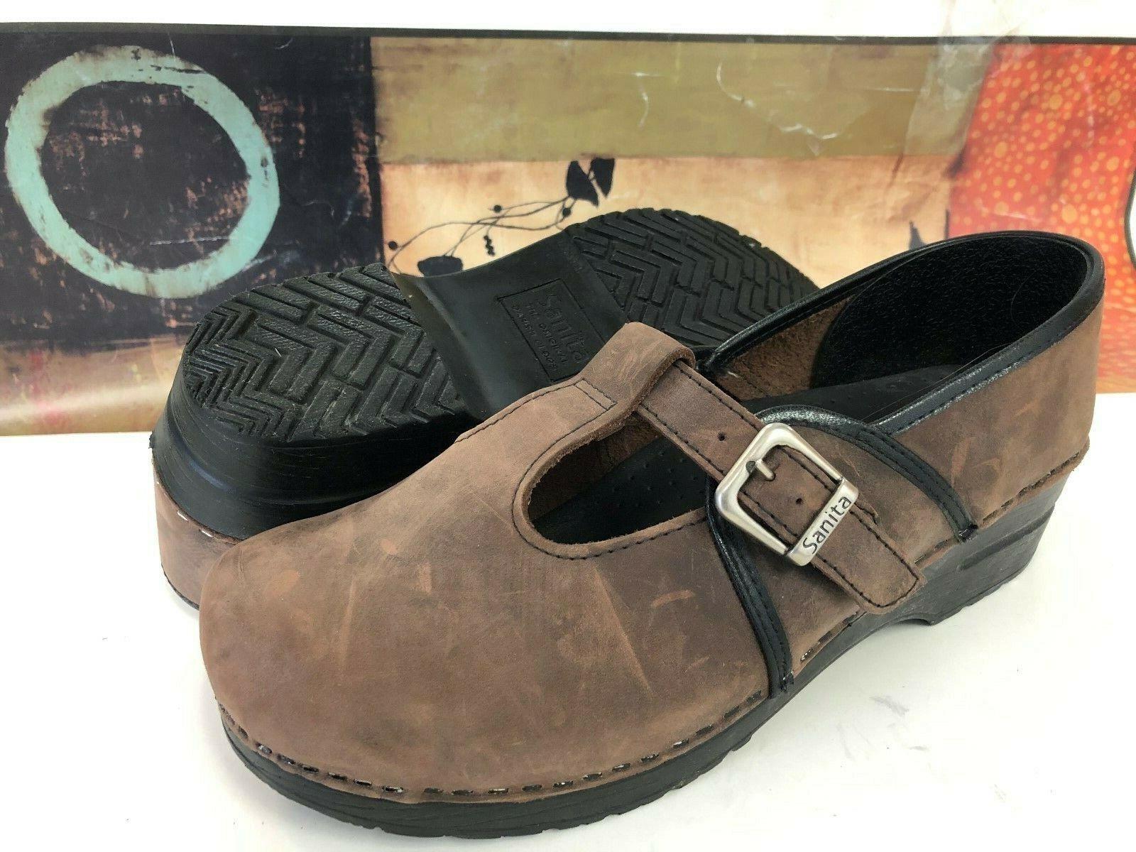 Women's Sanita Brown Oil Leather Mary Janes Clogs Euro 42 US 11 / 11.5 EUC