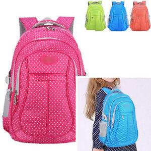 84f011244b78 Image is loading Girls-Children-Nylon-Waterproof-Student-Backpack-Polka-dot-