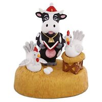 Moo-ey Christmas 2016 Hallmark Ornament - Cow Chickens Farm Band Singing Motion