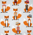 Fantastic Mr Fox and the Houndstooth fabric, Kaufman light grey, hat tie monacle