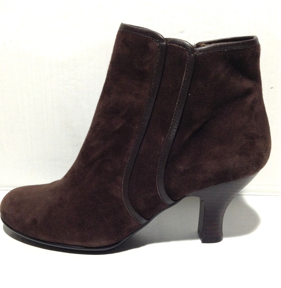 Womans 7.5 Sofft Ankle Boots Brown Leather Heel Booties Slip On Suede (ck)
