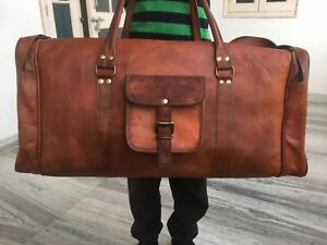 Large-X Large Men/'s Real Leather luggage gym Round overnight duffle bag vintage