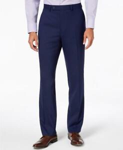 195 Van Heusen Flex Hombres De Azul Marino Slim Fit Pantalones De Vestir Brillante De 33 X 33 Ebay