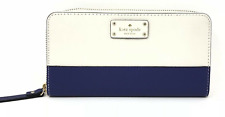 Kate Spade Lacey Pebbled Leather Zip Clutch Wallet in Oyster Blue Retail 218.