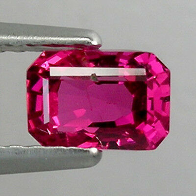 0.75Ct  AWESOME  TOP GRADE HOT RED BUR MESE NATURAL SPINEL EMERALD CUT  !