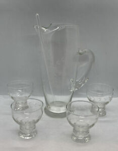 Vintage Mid Century Glass Pitcher , Stick and 4 Juice Tumblers Etched Glass