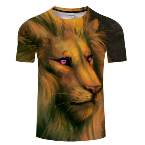 Summer Causal thin Man T-shirt Lion printed short sleeve Asian S-6XL TX037