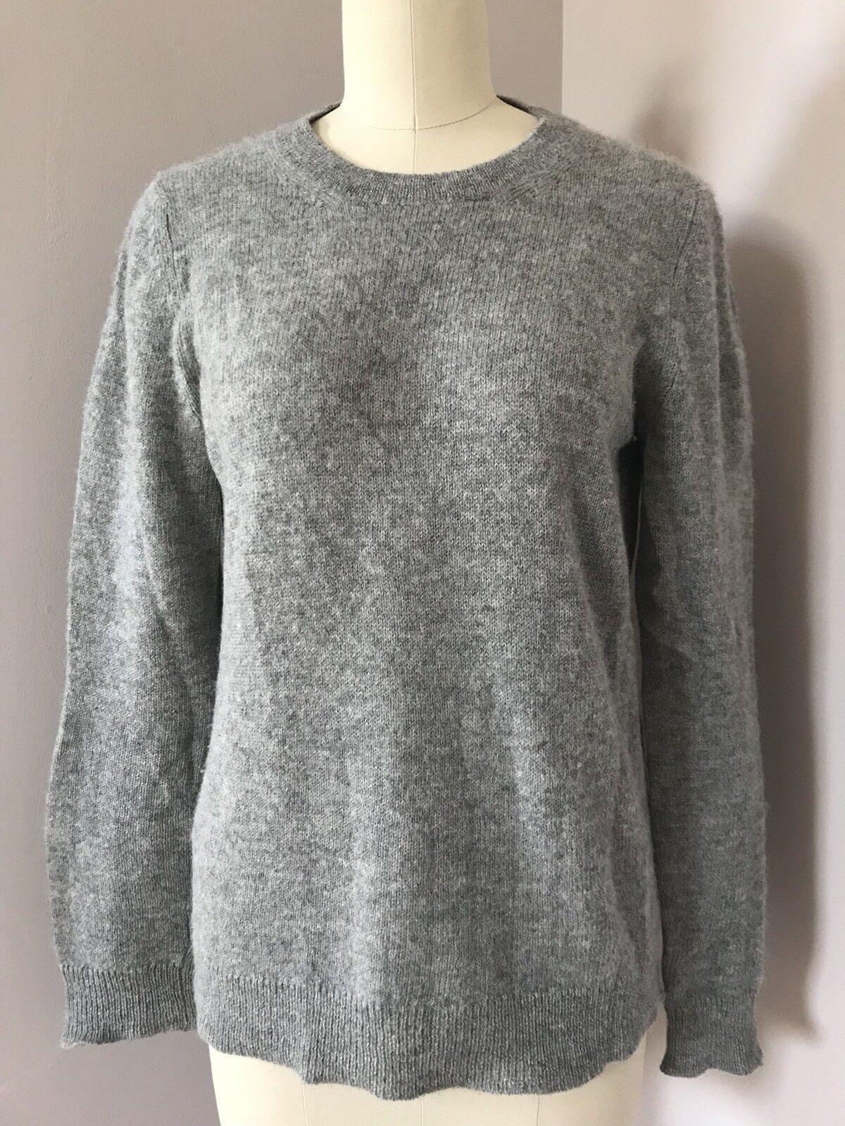 Prada Heather Grey 100% Alpaca Wool Knit Long Sleeve Sweater Size 44