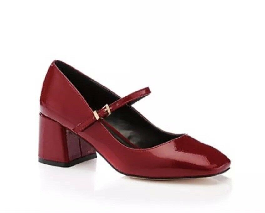 Ladies Faith Wine Patent Block Wide Fit Mary Jane Style Court shoes UK 5