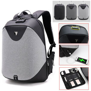 3698d207e13 Anti- theft Men Backpack Laptop School Travel Bag USB Charging Port ...