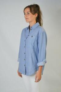 TOPSHOP-Womens-Cotton-Chambray-Blue-Collared-Button-Shirt-Blouse-RRP-28