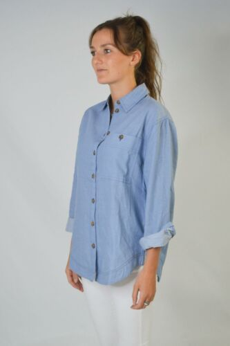 TOPSHOP Womens Cotton Chambray Blue Collared Button Shirt Blouse RRP £28