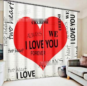 3D verdadero corazón 7 Cortinas de impresión de cortina de foto Blockout Tela Cortinas Ventana CA