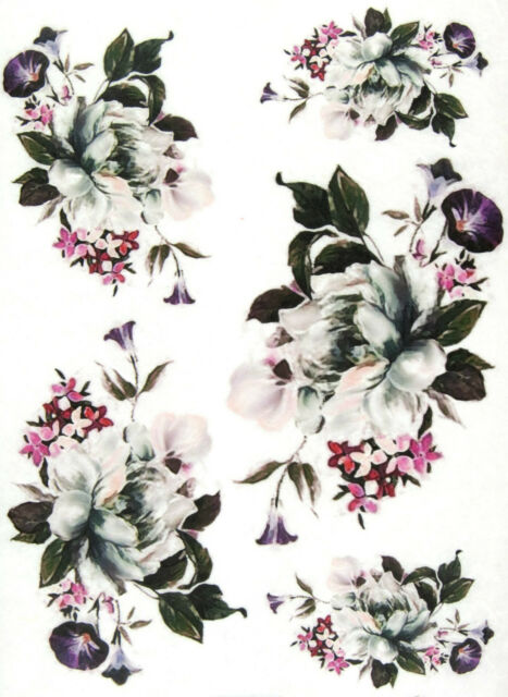 Rice Paper for Decoupage Scrapbooking SheetWhite Roses