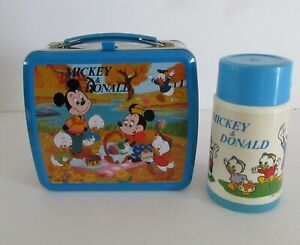 1970-039-s-Vintage-Rare-R10-Japan-issue-Mickey-amp-Donald-Lunchbox-Thermos-Mint-Unused