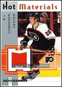 FLEER-HOT-PROSPECTS-2005-R-J-UMBERGER-NHL-PHILADELPHIA-FLYERS-ROOKIE-GAME-JERSEY