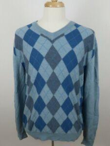 Banana Republic Mens Fine Italian Merino Wool LS V Neck Blue Argyle Sweater L