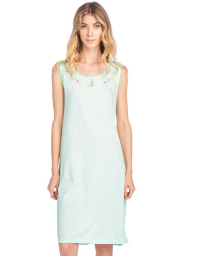 Casual Nights Women/'s Embroidered Cotton Knit Sleeveless Nightgown