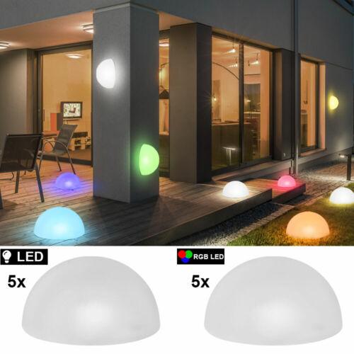 5er Set RGB LED SOLAR Halbkugel Steck Leuchten weiß Außen Strahler Deko Lampen