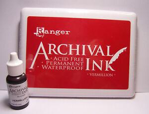 Jumbo-VERMILLION-Stamp-Pad-and-Reinker-Acid-Free-Waterproof-Ranger-Archival-Ink