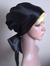 Black Satin Hair Covering, Bad Hair Day Head Wrap, Head Snood, Black Headscarf