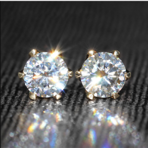 4Ct-Round-Cut-Sparkle-Moissanite-Solitaire-Stud-Earrings-14K-Yellow-Gold-Finish